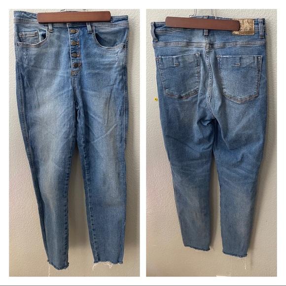 ZARA skinny button fly high waist denim jeans 4